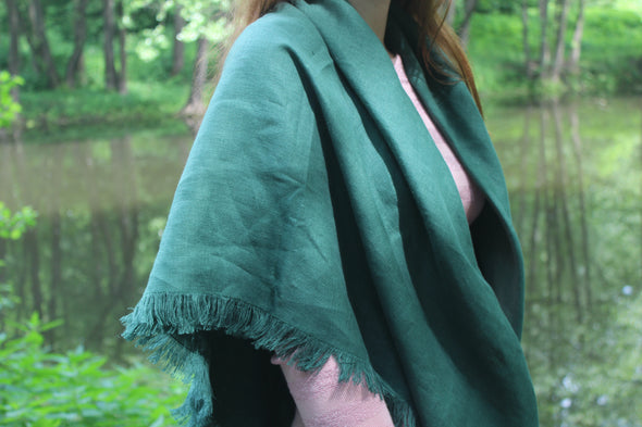Softened Lightweight Linen Scarf - Emerald Green Linen Shawl - Winter Women's Fringed Scarf