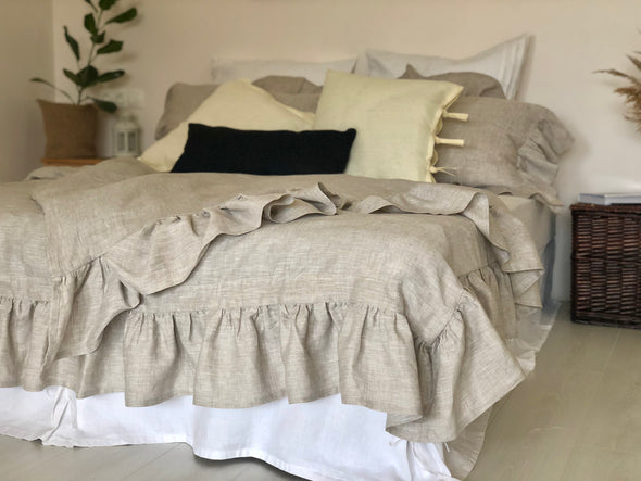 Natural Linen Duvet Set Ruffled - Duvet Comforter Cover and Two Pillowcases - Shabby Romantic Bed Ruffles