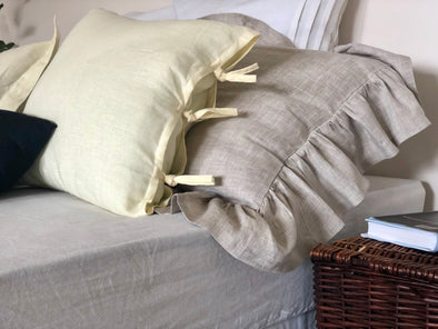 Linen with Ties Sham - Made of 100% Linen - Cushion Cover in Cream Color - Euro Standard Queen King Small Square 20X20 inches
