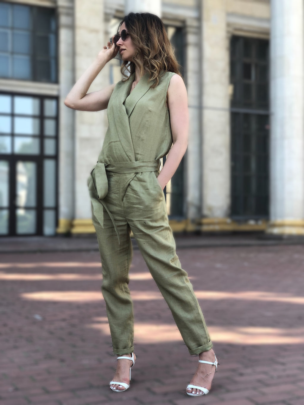 Casual Linen Jumpsuit - Olive Linen Romper with Belt - Loose Linen Overalls