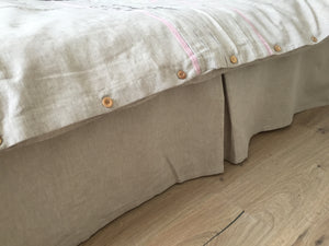 Natural Linen Bed Skirt with Cotton Lining - Three Panel and Pleates Design - fits for High Footboards, Split Corners