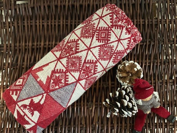 Winter Ornamental Motifs Red Bath Towel  - Natural Linen Bathroom Towel Wraparound