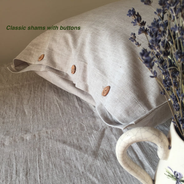 Natural Linen Pillow Sham with Wooden Buttons - Standard, Queen, King, Euro Sizes - Natural, White or Grey Colors