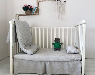 Pleated Linen Crib Skirt - Pleated on Each Side - Gender Neutral Nursery Bedding - Flat Skirt Monochrome Natural Color Bedding