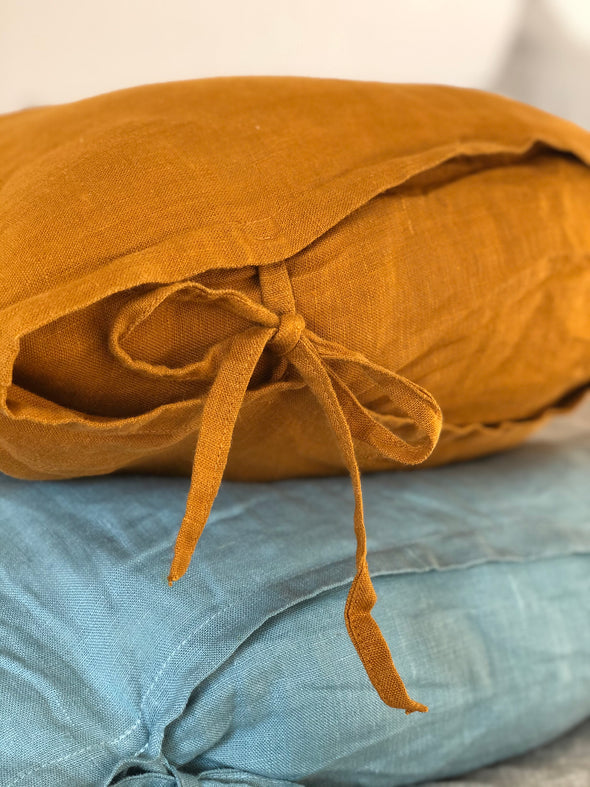 Bow Ties Linen Pillow Case - Skinny ties - Linen Pillow Cover - Linen Cushion - Queen Standard King Euro Sizes