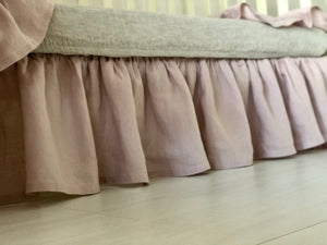 Flax Linen Crib Skirt Gathered - Linen Nursery - Baby Gift Natural Flax - Farmhouse Crib Skirt Dust Ruffle - Baby Room Decor