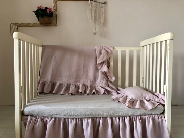 Pink Crib Bedding Set - 3 pcs Set of Duvet Cover, Fitted Sheet and Pillow Sham - Rose Nursery Bedding - Pillow Case with Ruffles