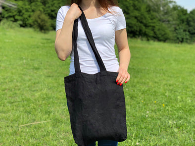 Reusable Grocery Shoulder Bag - Black Linen Shopping Tote - Everyday Tote Bag