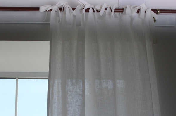 Linen Frame Border Curtain with Cotton Lining - Back Tabs or Top Ties - with Contrast Edging