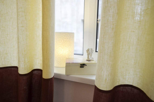 Color Block Linen Curtain Panel with Cotton Lining - Rod Pocket Window Treatments - Two Tone Curtain Panels  in Custom Size