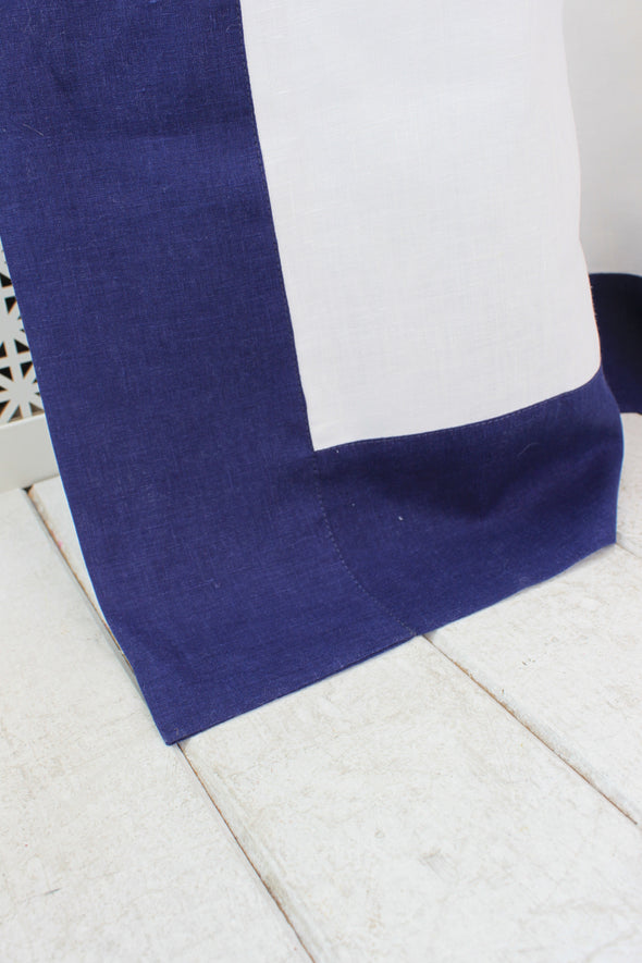 "Linen Back Tabs or Top Ties Frame Border Drape - 53"" Width, Custom Length - White with Navy Blue Edging"