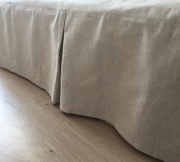 Natural Linen Bed Skirt with Cotton Lining - Three Panels and Pleats Design - Split Corners Option for High Footboards