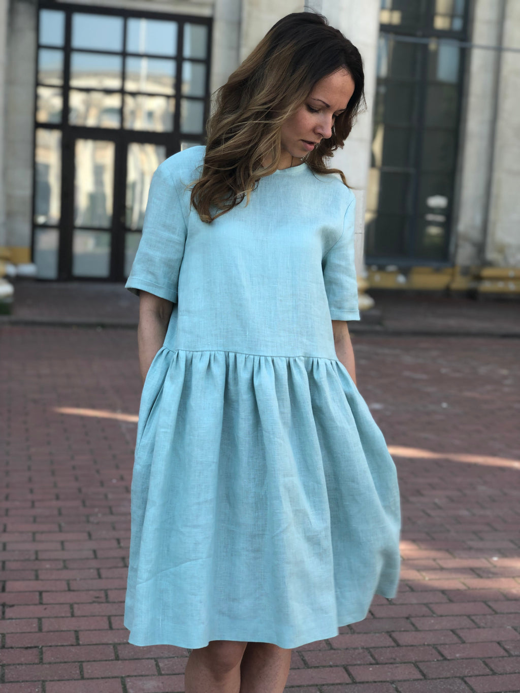 Linen Dress with Pockets - Short Sleeves Linen Dress - Oversize Linen Dress