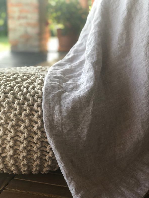 Summer Nights Linen Cover Blanket - Hot Weather Coverlet - 100% Flax in Natural, White, Mustard, Dark Grey Colors