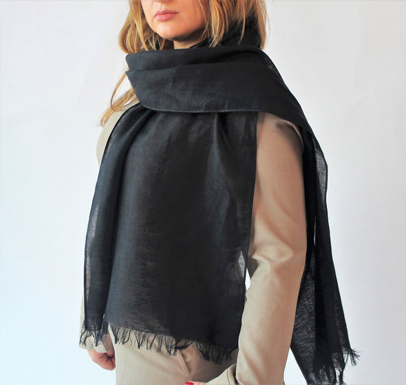 Flax Linen Scarf Wrap Shawl – Unisex Linen Scarf - Available in Black, Brown, Sky Blue, Steel Blue, Natural Oatmeal and White Colors
