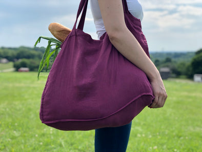 Linen Large Shopper Bag - Flax Fuchsia Shoulder Bag - Shopping Grocery Casual Tote