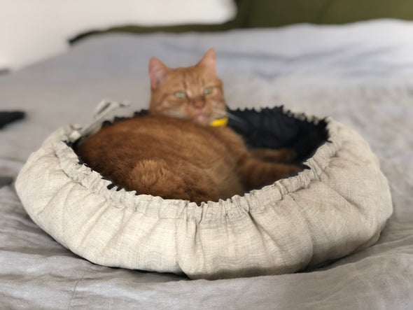 Natural Linen Pet Bed Basket - 100% Natural and Breathable - Mud Cloth Machine Washable