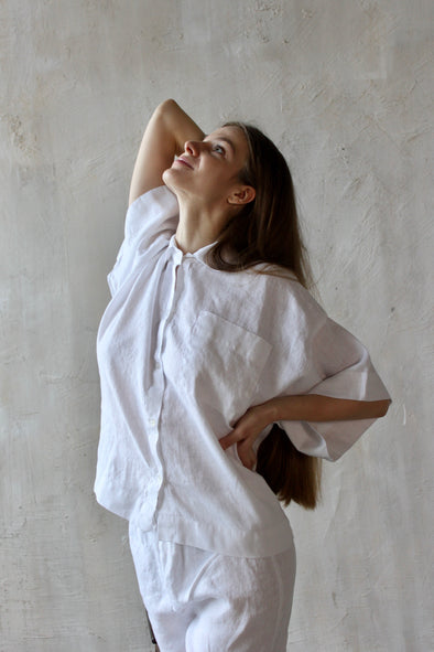 Softened Linen Women's Loungewear - Pajama Set Shorts and Three Quarter Sleeve Shirt - White and Natural Colors