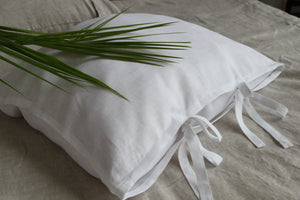 Natural Linen Pillow Sham with Ties - Standard, Queen, King, Euro Sizes - Natural, White, Grey, Pink, Blue Colors