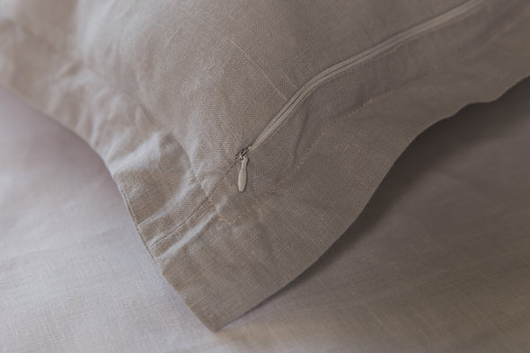 Oxford pillow cover - Flanged linen pillow - Luxury linen bedding in grey, white, beige, pink, blue, green colors