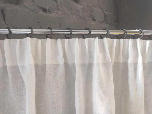 Pencil Pleat Linen Curtain Panel with Cotton Lining - Heading for Rings and Hooks - Linen Privacy Curtain