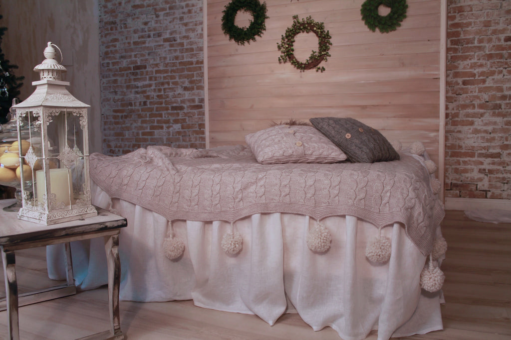 Romantic Pure Linen Bed Skirt with Ruffles - Different Sizes and Colors