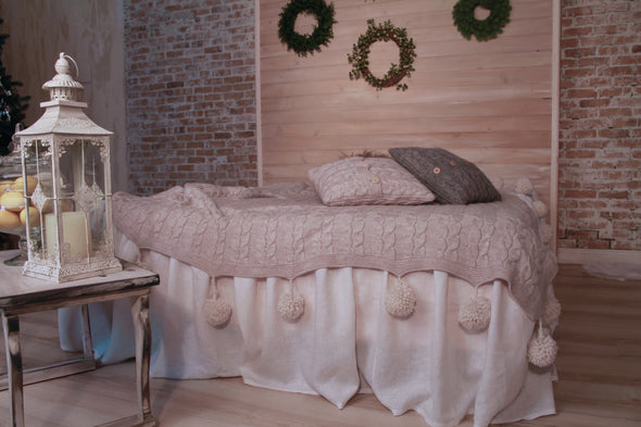 Romantic Pure Linen Bed Skirt with Ruffles - Full, Queen, King Sizes - White, Grey, Beige, Blue Colors