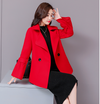 Double-breasted trend stitching temperament fashion trumpet sleeve wool coat
