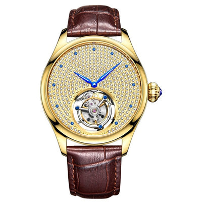 2019 Real Tourbillon Mechanical Hand Wind Sapphire Mens Watches Top Brand Luxury Rhinestone Clock men Gold Relogio Masculino FREE SHIPPING WORLD WIDE 5-10 DAYS