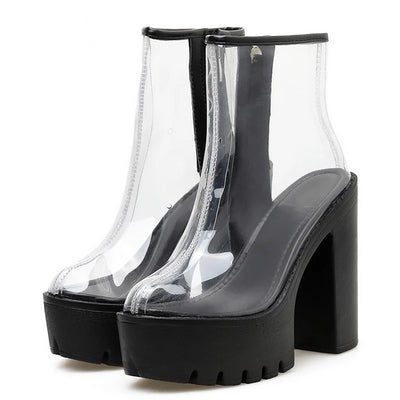 Gdgydh Spring Summer Boots Womens PVC Clear High Block Heels Side Zipper Ankle Boots Platform Shoes Rubber Sole Good Quality
