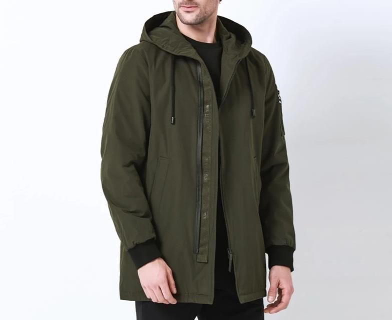 New men autumn Coat  high quality clothing fashion man jacket diagonal placket hooded design MWC18031D
