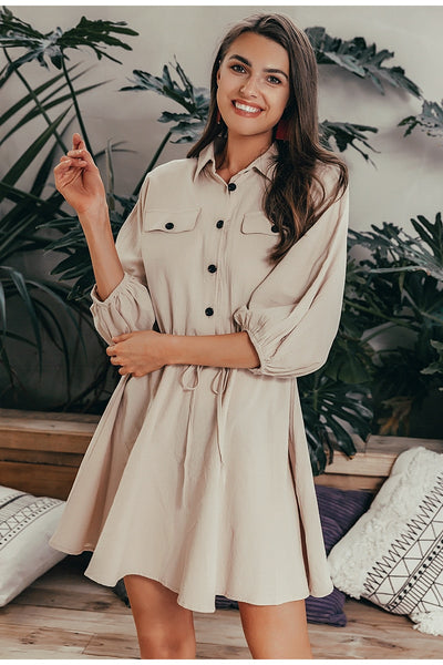 Elegant linen short shirt dress women Long sleeve cotton dress buttons female vestidos Vintage summer dresses casual