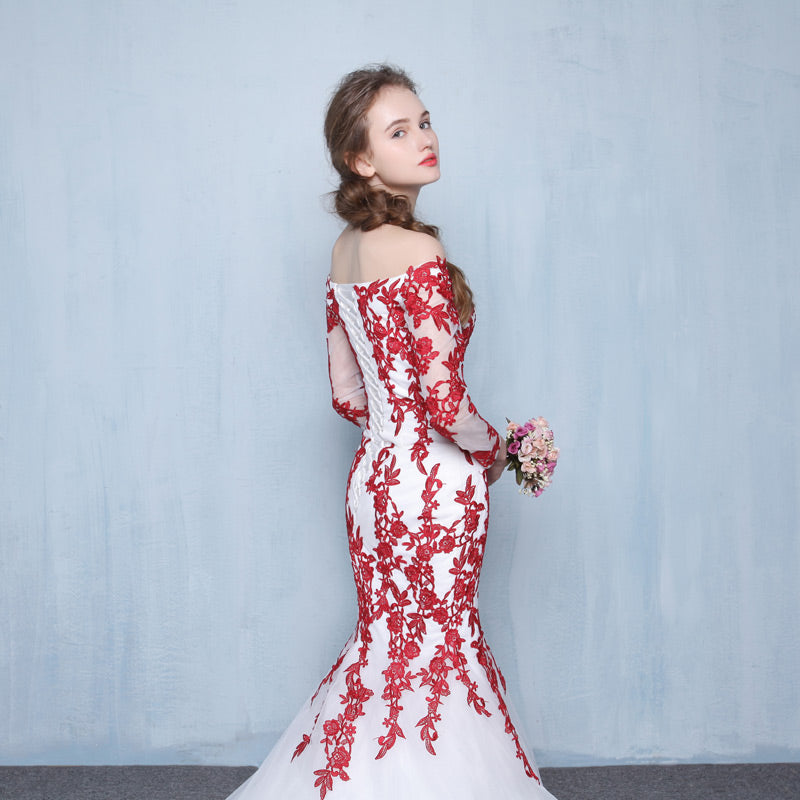 New arrival elegant wedding dress Vestido de Festa dress long sleeves appliques long style wedding party trumpet gown