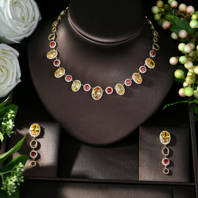 New Fashion AAA Cubic Zirconia Necklace Jewelry Set for Women Wholesale 2pcs Jewelry Sets