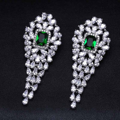 A311G Clear and Green Dangles Long Earrings for Women Wedding Trendy Earrings Water Drop Zircon Party Gift