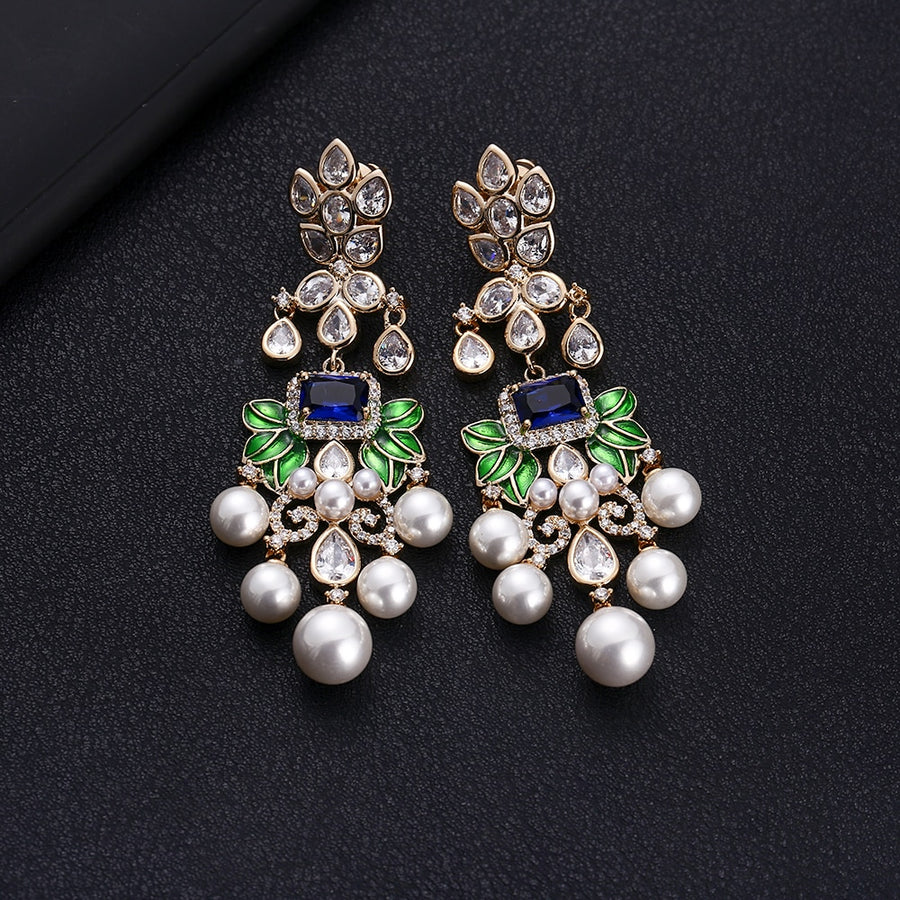 jankellyLuxury Flowers  Cubic Zircon Crystal CZ Long Dangle Earrings For Women African Bridal Earring aretes de mujer modernos