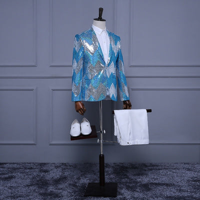 (Jacket+Pants) Light Blue White Silver Sequins Tuxedo Stripe Paillette Mens Stage Show Groomsman Slim Suits Sequin Jacket Men
