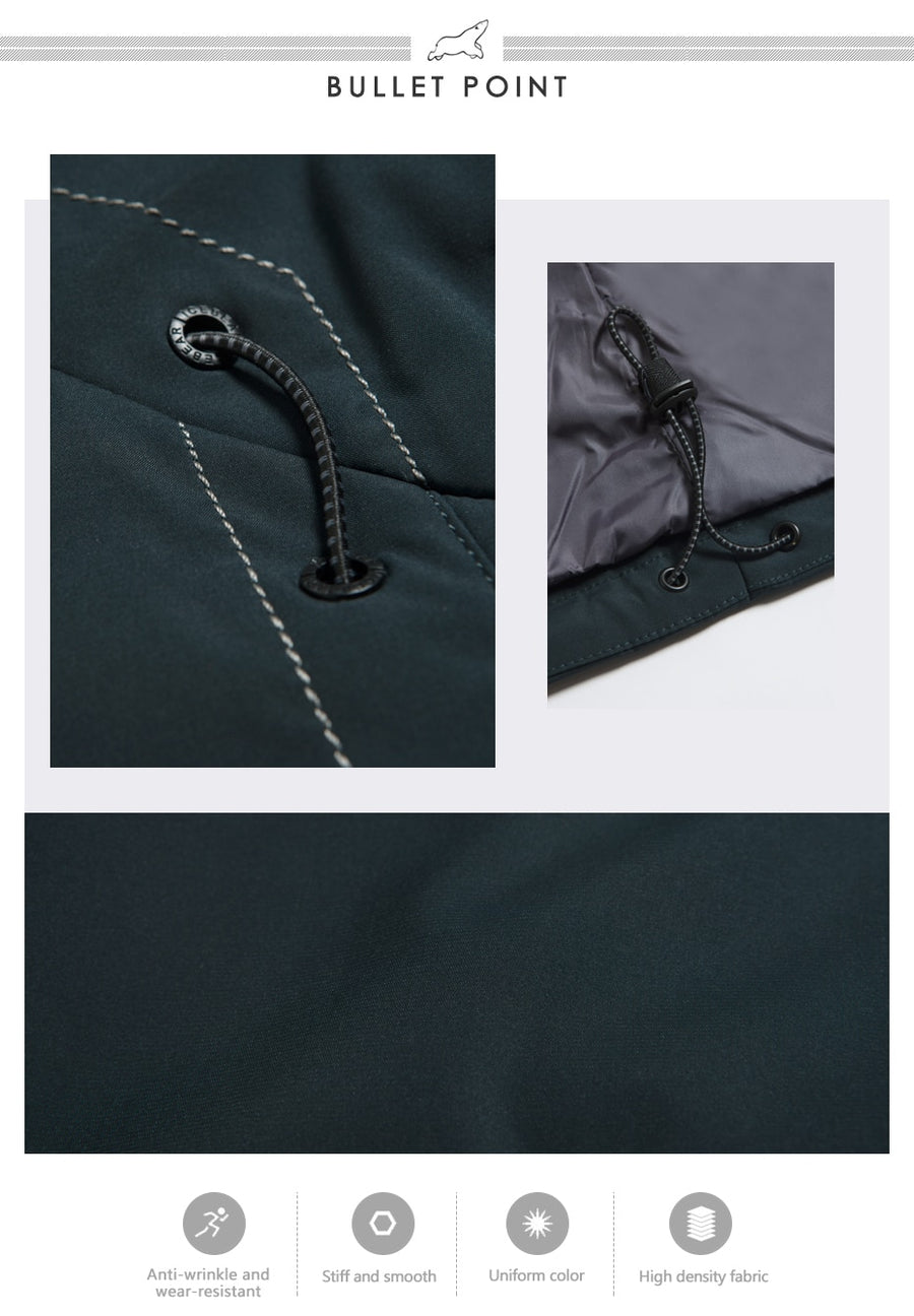 Autumn Mid-Long Jacket Men Large Pocket Design Windproof Thin Stand Collar Simple Handsome Coat MWC18120D