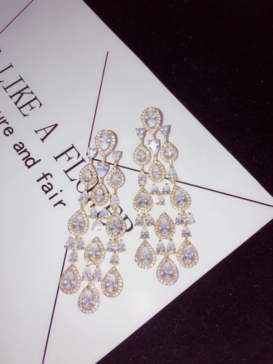 jankelly   Trendy clear white Water Drop Cubic Zirconia WomenTassel Earring Brazil Style Drop Earring Brincos Bijoux Gifts