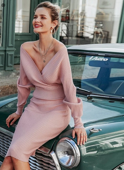 v-neck women knitted skirt suits Autumn winter batwing sleeve ladies suit Elegant party female sweater pink dress