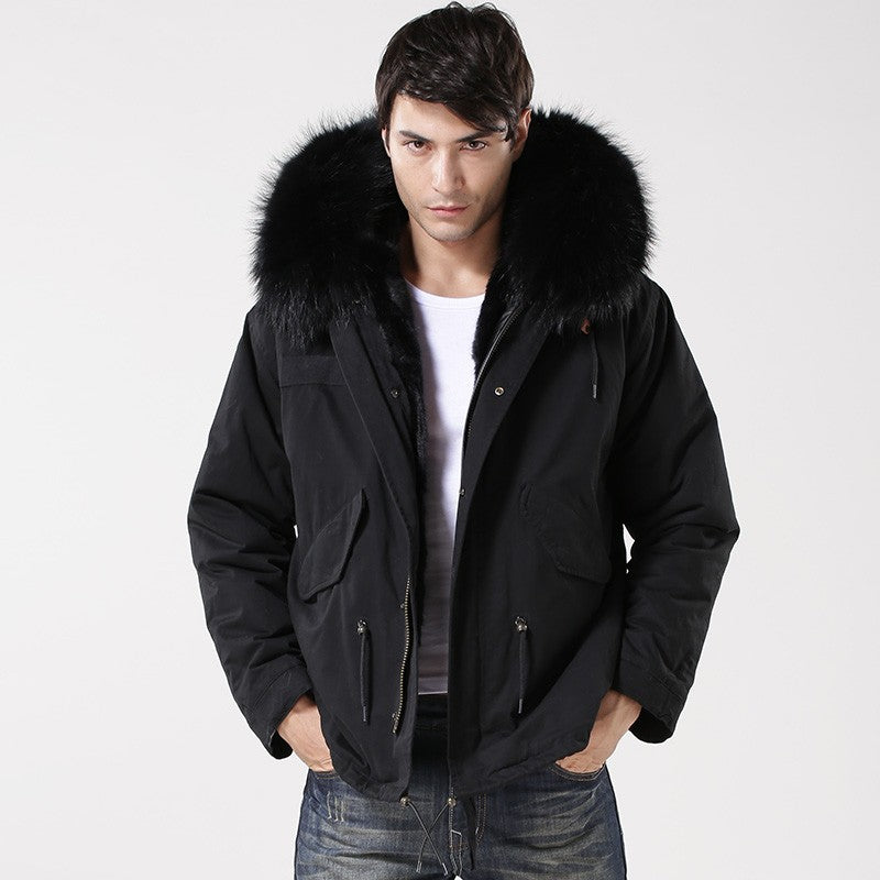 Pure black gentlemen short style man style parka cool black beautiful coat  free shipping take about 5-8 days world wide