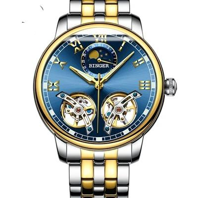 Switzerland watches men luxury brand BINGER sapphire Water Resistant toubillon full steel Mechanical Wristwatches free shipping 6-11 days