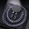 Luxury Circular Set Necklace Earring Bracelets 925 Sterling Silver Necklace 42cm Earring 3cm Bracelets 18cm EHBK-040