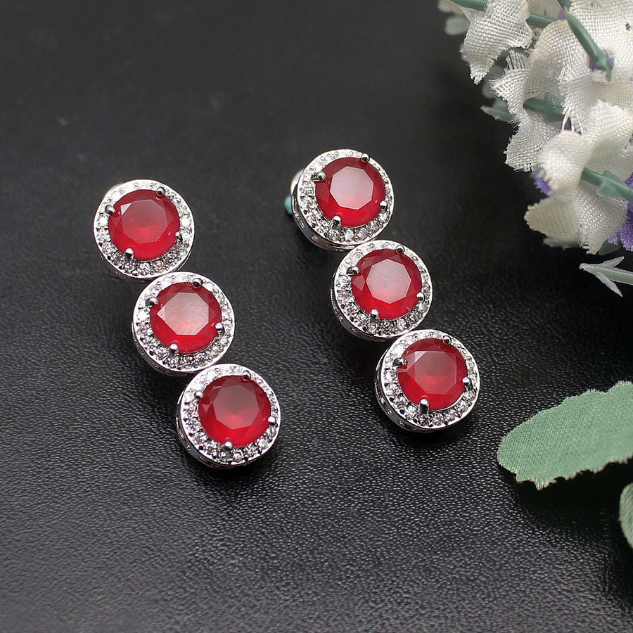 Luxury Red Circular Set Necklace Earring Bracelets 925 Sterling Silver Necklace 42cm Earring 3cm Bracelets 18cm EHBK-043