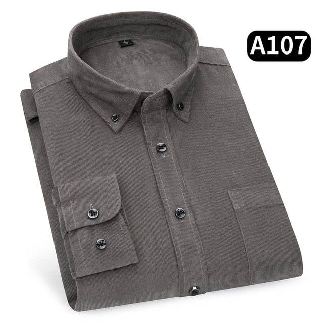 new arrival 2019 cotton Corduroy long sleeve button collar quality warm easy care regular fit simple  business men casual shirts