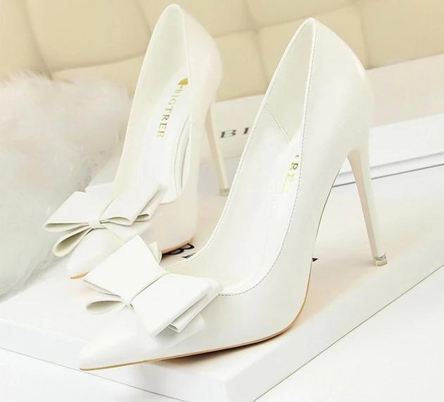 New Spring/Autummn Women Pumps High Thin Heel Pointed Toe Butterfly-Knot Sweet Fashion Women Shoes White