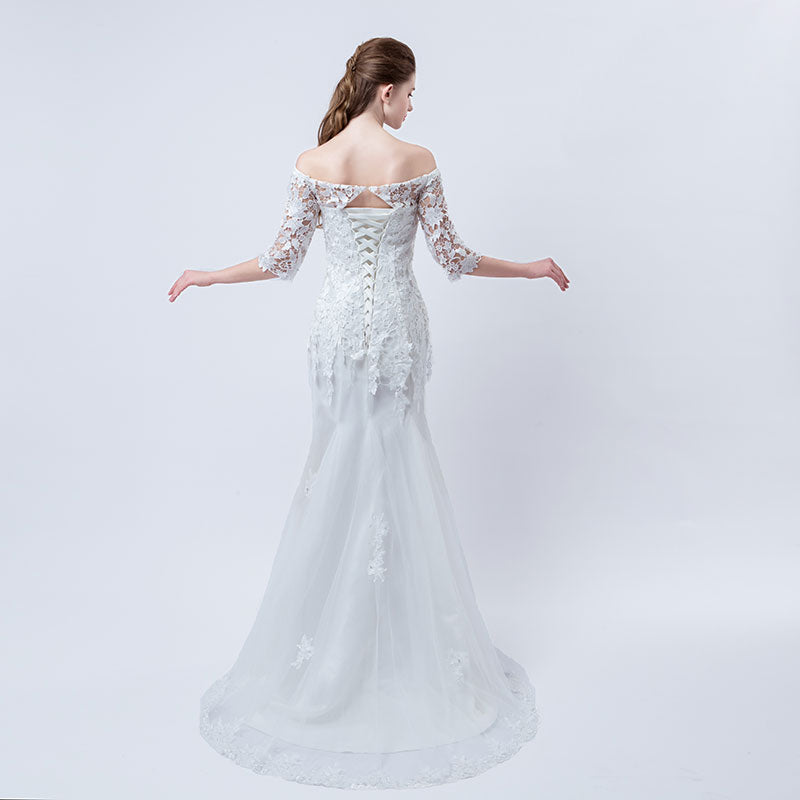 New arrival elegant wedding dress Vestido de Festa mermaid dresses lace crystal half sleeves applique long style party