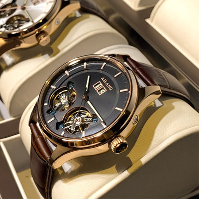 Skeleton Double Tourbillon Mechanical Switzerland Men Watches Top Brand Luxury Auto matic Watch Calendar Sport Male Clock NEW FREE SHIPPING 6-11 DAYS