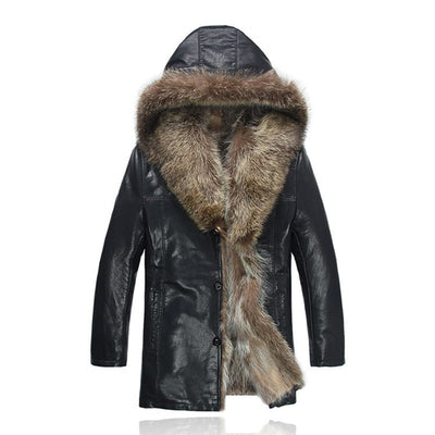 Men's Fur Coat With Fur Hooded 2019 High Quality Fashion Leather Jacket For Real Lined Mens Overcoat