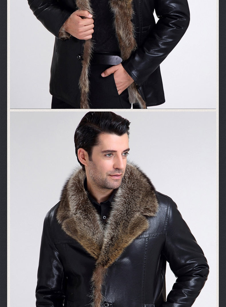 Winter Fashion men fur coat Keep Warm leather jackets men High Quality Hot Sale leather jacket by real fur lined